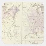 1870 mapas del censo de Estados Unidos Pegatina Cuadrada