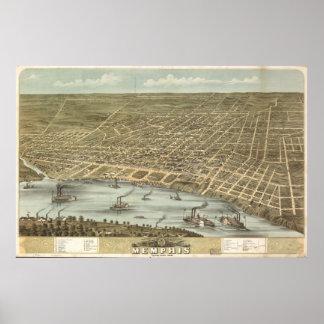 1870 Memphis, TN Birds Eye View Panoramic Map Print