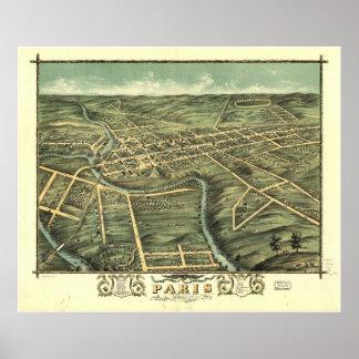 1870 Paris, KY Birds Eye View Panoramic Map Poster