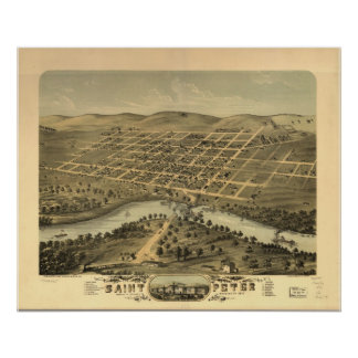 1870 Saint Peter, MN Birds Eye View Panoramic Map Poster