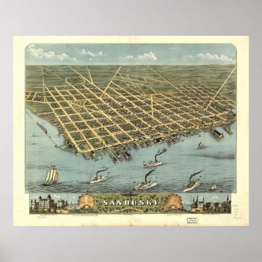 1870 Sandusky, OH Birds Eye Panoramic Map Poster