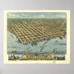 1870 Sandusky, pájaros del OH observa el mapa pano Póster