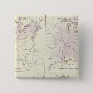 1870 United States census maps Pinback Button