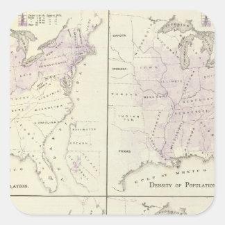 1870 United States census maps Square Sticker
