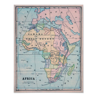 1870 Vintage Map of Africa Poster