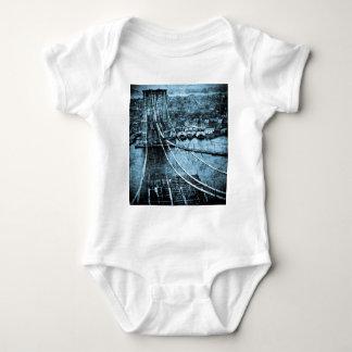 1870s Construction of  Brooklyn Bridge New York Baby Bodysuit