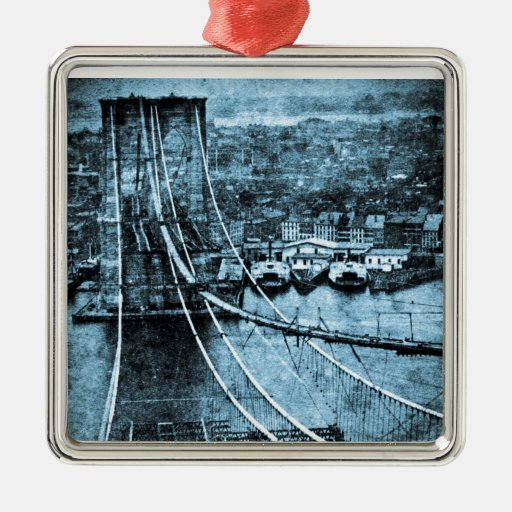 1870s Construction of  Brooklyn Bridge New York Square Metal Christmas Ornament