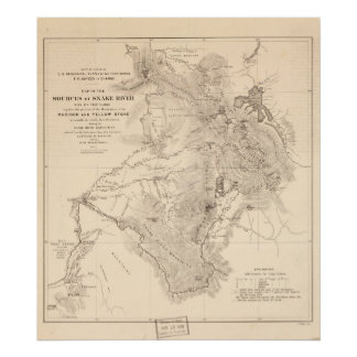 1870's Map Sources of Snake River Wyoming Idaho Poster