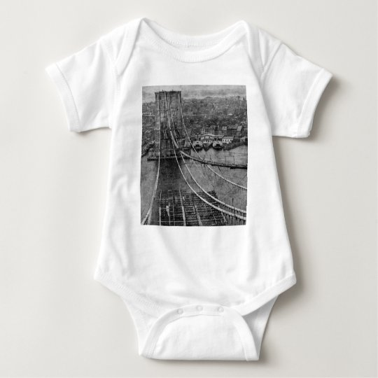 1870s New York City Brooklyn Bridge Construction Baby Bodysuit