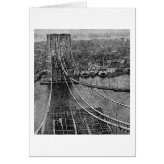 1870s New York City Brooklyn Bridge Construction Card