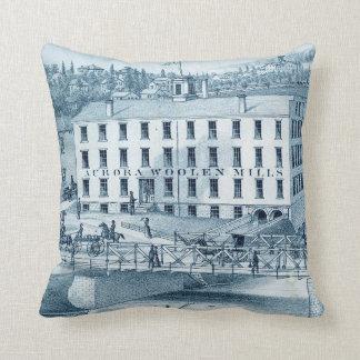 1871 Aurora Illinois Woolen Mills Throw Pillow