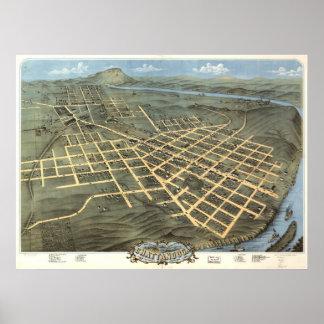 1871 Chattanooga, mapa panorámico de la opinión de Póster