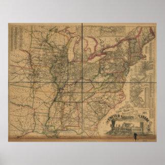 1871 ferrocarriles y mapa de la distancia de los E Impresiones