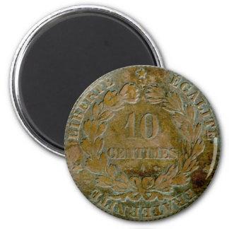 1871 franceses imán reverso de 10 céntimos