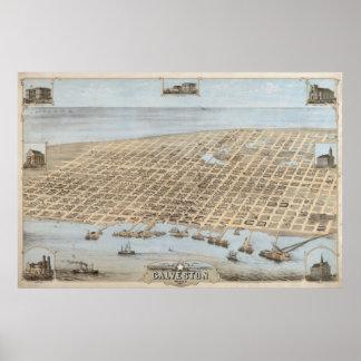 1871 Galveston, TX Birds Eye View Panoramic Map Poster