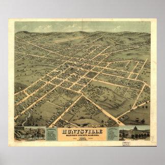 1871 Huntsville, AL Panoramic Map Birds Eye View Print