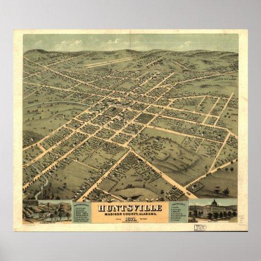 1871 Huntsville, opinión panorámica de ojo de pája Póster