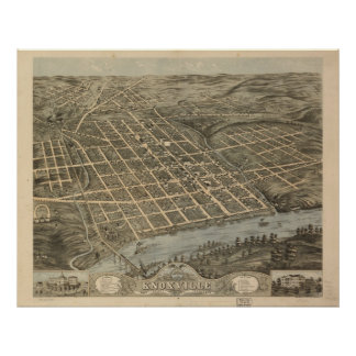 1871 Knoxville, TN Birds Eye View Panoramic Map Poster