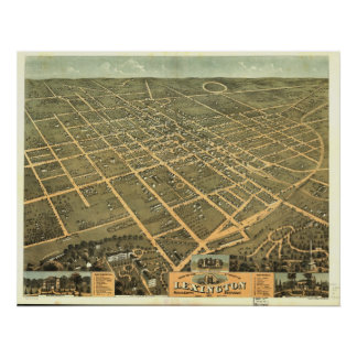 1871 Lexington, KY Birds Eye View Panoramic Map Poster