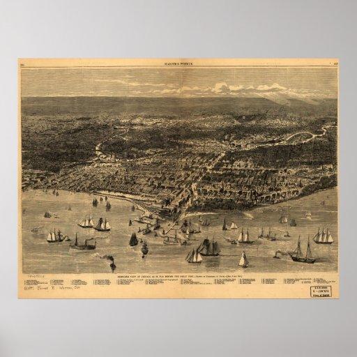 1871 mapa panorámico de la opinión de ojo de pájar impresiones