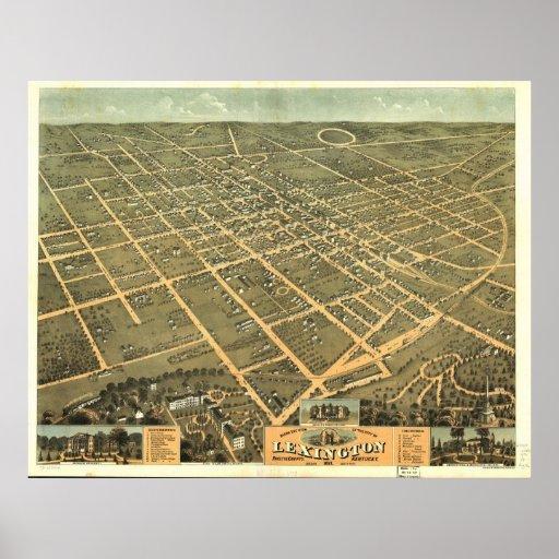 1871 mapa panorámico de la opinión de ojo de pájar posters