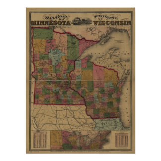 1871 railroad/post office map of MN and WI Print