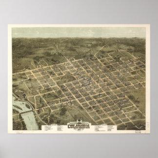 1872 Columbia SC Birds Eye View Panoramic Map Poster
