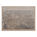 1872 Dallas, TX Birds Eye View Panoramic Map Posters