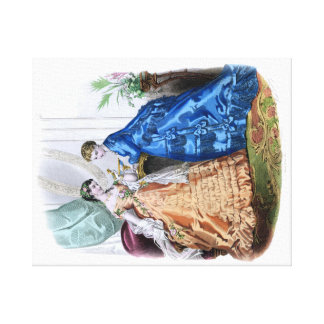 1872 La Mode Illustree - Two Women in Elegant Gown Canvas Print