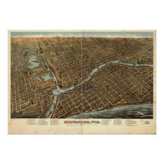 1872 Milwaukee, WI Birds Eye View Panoramic Map Poster