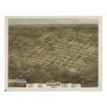 1872 Raleigh, NC Birds Eye View Panoramic Map Poster