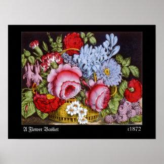 """1872 VINTAGE """"Flower Basket"""" PRINT"""