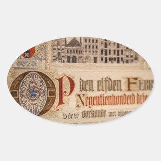 1873 Antique Certificate Vintage Paper Oval Sticker