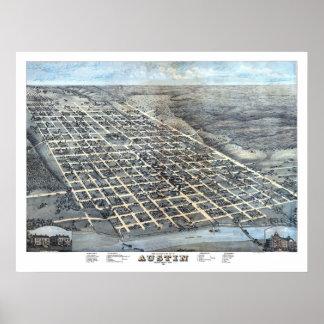 1873 Austin, TX Bird's Eye View Panoramic Map Poster