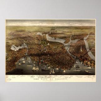 1873 Boston mapa panorámico de la opinión de ojo Posters