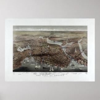 1873 City of Boston, MA Panoramic Birds Eye View Poster