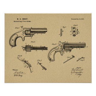 1873 Gun Revolver Patent Art Drawing Print