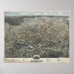 1873 Houston, mapa panorámico de la opinión de ojo Impresiones