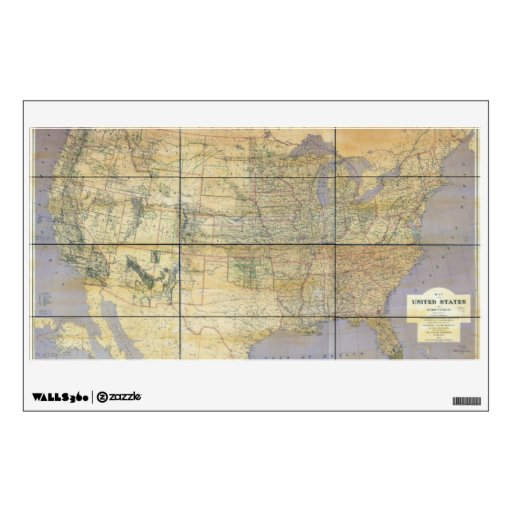 1873 Map of the United States of America Room Decals