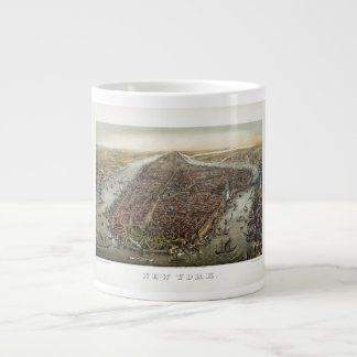 1873 New York City Battery Park Brooklyn Bridge Large Coffee Mug