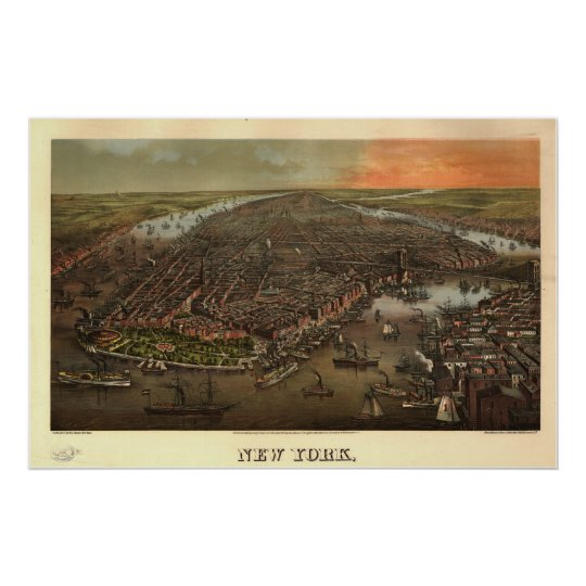 1873 New York, NY Birds Eye View Panoramic Map Poster