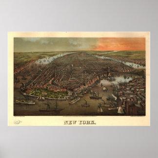 1873 Nueva York mapa panorámico de la opinión de Poster
