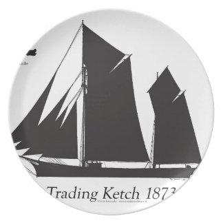 1873 trading ketch - tony fernandes dinner plate