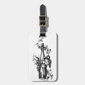 1873 Vintage Wine Bottle with Grapes and Leaves Bag Tag