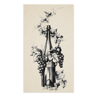 1873 Vintage Wine Bottle with Grapes and Leaves Business Card