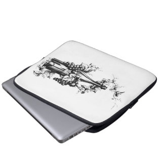 1873 Vintage Wine Bottle with Grapes and Leaves Laptop Computer Sleeves