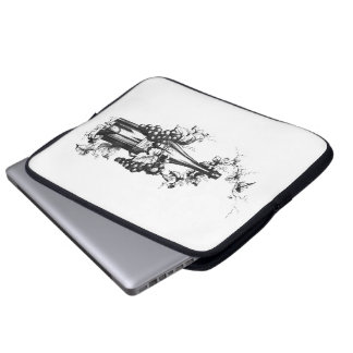 1873 Vintage Wine Bottle with Grapes and Leaves Laptop Sleeves