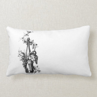 1873 Vintage Wine Bottle with Grapes and Leaves Pillow