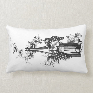 1873 Vintage Wine Bottle with Grapes and Leaves Pillows