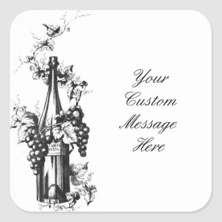 1873 Vintage Wine Bottle with Grapes and Leaves Square Sticker